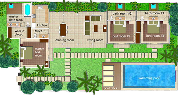 Serene villa layouts Bali house designs floor plans